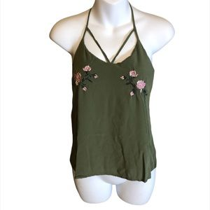 No Boundaries Green Strappy Tank Top Size Small